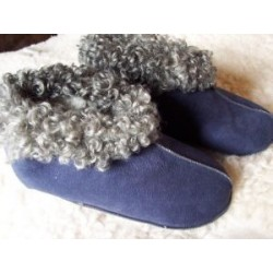 Lammskinnstofflor blå mocka
