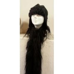 Lammskinnsboa - svart lång ull